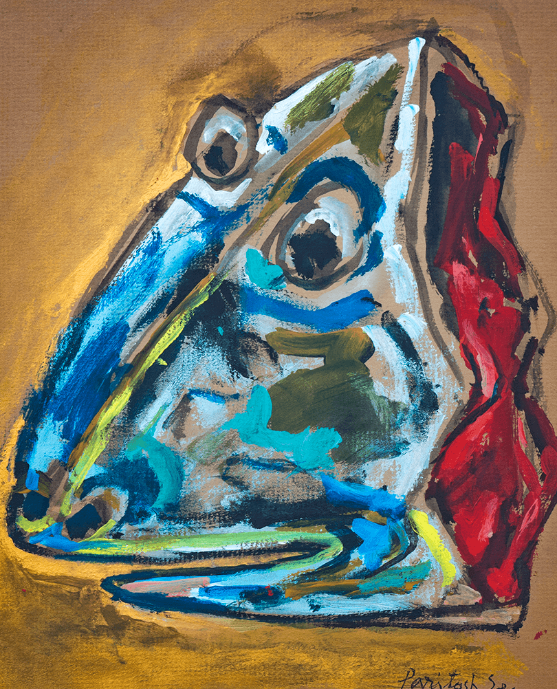 Paritosh-Sen-PS-0003-Fish-12-x-10.5-inches-Mixed-media-on-paper-2005