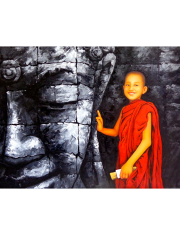 Buddha with Monk